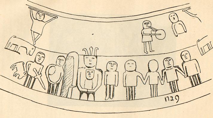 Reproduction complète de de la scène gravée sur le piédestal de croix de Nébouzat (Puy-de-Dôme), extrait de l'article de Pierre-François Fournier (« Le piédestal de croix de Nébouzat et les bourrées d'Auvergne », dans « Auvergne – Cahiers d'études régionales », N°121, L'Auvergne Littéraire 1947).