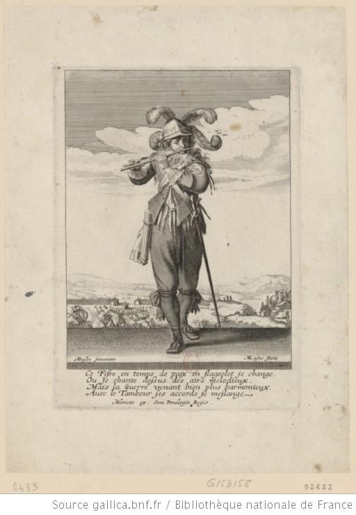 « Un soldat jouant du fifre » estampe du XVIIe siècle de Michel Lasne, graveur, d'après un dessin d'Abraham Bosse (source : Gallica, site de la Bibliothèque Nationale).