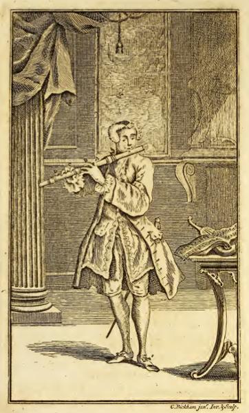 Joueur de flûte au XVIIIe siècle (gravure extraite d'un recueil anglais de musique de danse pour flûte traversière« The delightful Pocket Companion for the German Flute »).