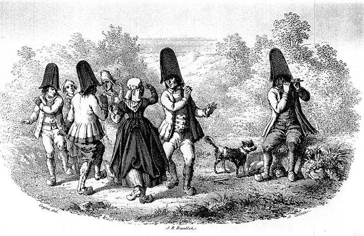 Gravure extraite de « L'Album Auvergnat » de Jean-Baptiste Bouillet (costumes de Riom, Puy-de-Dôme).