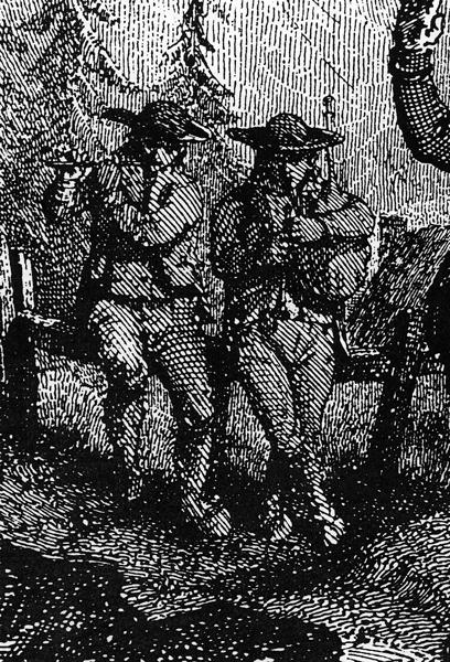 Détail des musiciens, gravure extraite de « L'Album Auvergnat » de Jean-Baptiste Bouillet (costumes du Mont-Dore, Puy-de-Dôme).