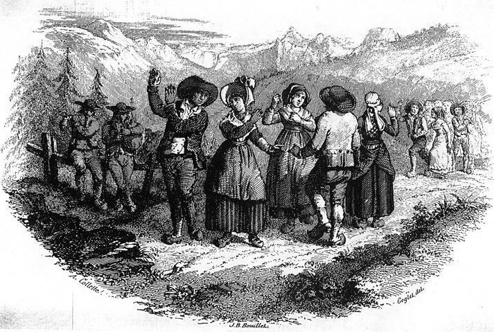 Gravure extraite de « L'Album Auvergnat » de Jean-Baptiste Bouillet (costumes du Mont-Dore, Puy-de-Dôme).