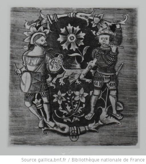 Représentation allégorique du couple fifre-tambour, fin XVe ou début XVIe siècle (source : Gallica, site de la Bibliothèque Nationale).